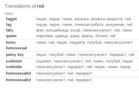 Google traductor en rusia gay