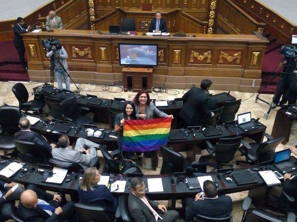 """Diputadas Delsa Solorzano y Tamara Adrian, celebran que la declaración del 17 de mayo como """"Día contra la homofobia""""."""