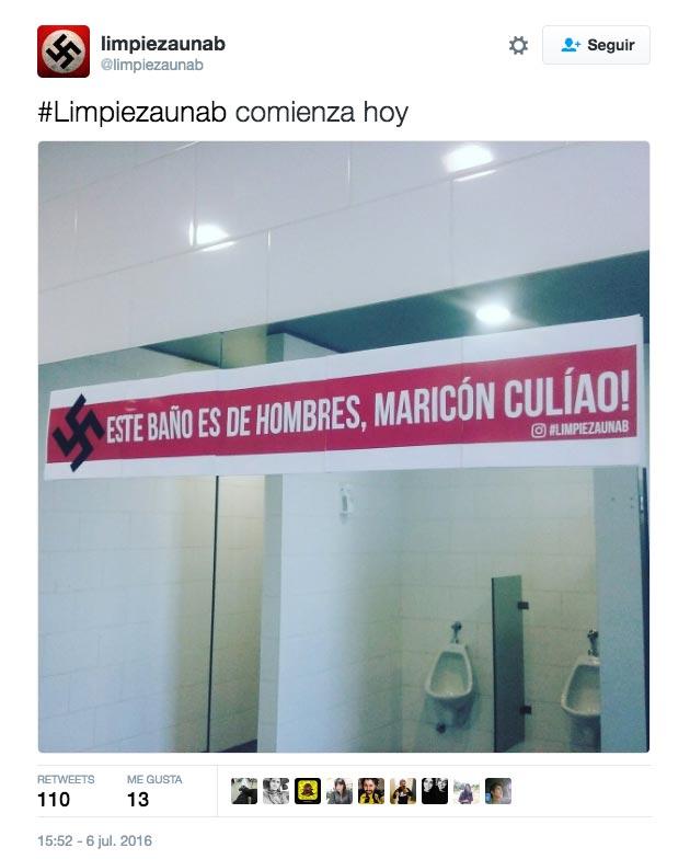 Cartel neonazi y homofóbico en universidad chilena