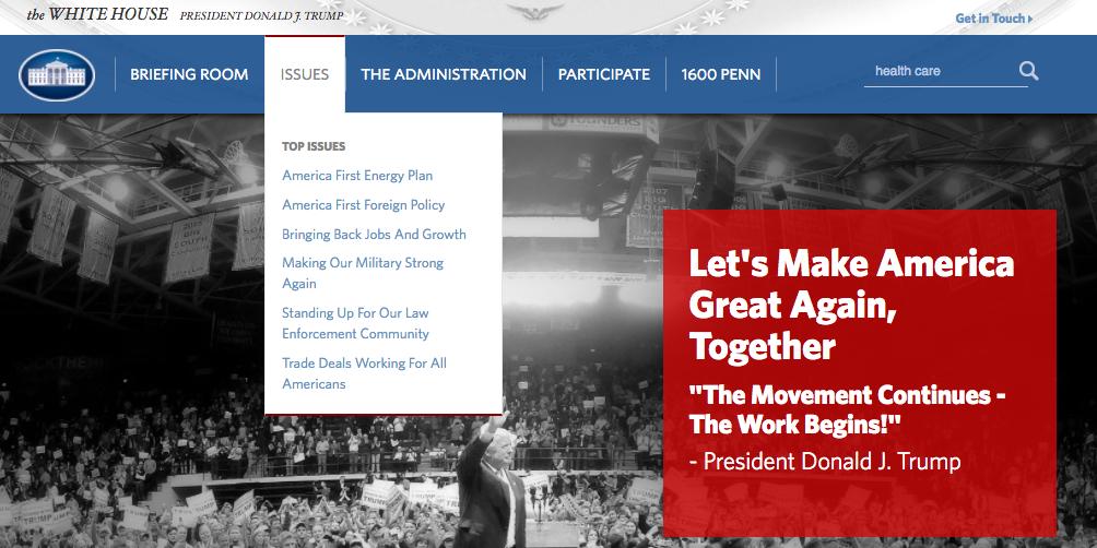 Casa Blanca Presidente Trump Web Areas